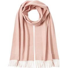 Burberry Shoes & Accessories Cashmere Scarf ($370) ❤ liked on Polyvore featuring accessories, scarves, fringe shawl, fringe scarves, cashmere scarves, burberry shawl and pink scarves