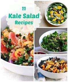 What to do with all of the kale in the garden... Heathy Summer Eats: 11 Kale Salad Recipes