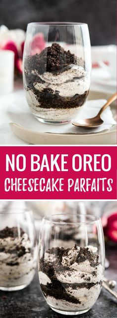 These No Bake Oreo Cheesecake Parfaits are super simple to make with no baking involved! A delicious cookies-and-cream dessert that is fast, easy, and foolproof. Perfect for any time of the year! (simple snacks no bake) Parfait Desserts, Parfait Recipes, Köstliche Desserts, Delicious Desserts, Dessert Recipes, Delicious Cookies, Fast And Easy Desserts, Dessert Ideas, Simple Snacks