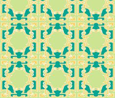 Iron Gates in Emerald and Lime custom wallpaper by pearl&phire for sale on Spoonflower Tablecloth Fabric, Iron Gates, Perfect Wallpaper, Custom Wallpaper, Textured Walls, Installation Art, Surface Design, Custom Fabric, Spoonflower