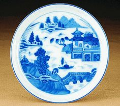 "Mottahedeh Blue Canton Round Dish (4.5"" dia.)"