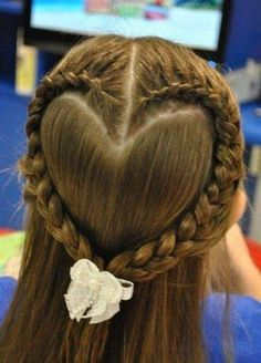 heart braid for a little girls Valentines Day hair! I will have to bribe Kayla with buckets of chocolate to do this.Perfect heart braid for a little girls Valentines Day hair! I will have to bribe Kayla with buckets of chocolate to do this. Flower Girl Hairstyles, Little Girl Hairstyles, Pretty Hairstyles, Braided Hairstyles, Wedding Hairstyles, Brunette Hairstyles, Funky Hairstyles, Updos Hairstyle, Hairstyle Tutorials