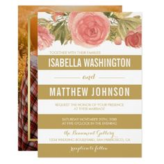 #party - #Pink Flowers & Gold White Stripes   Photo Wedding Card
