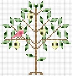Early Style Needlework Motif ~ Great chart for a small sampler or pinkeep.  Primitive cross stitch lemon tree and bird free pattern.