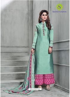 Buy Aqua Mint Banarasi Silk Plazzo Suit from India at yosari.com . Model:YOS13699, Express Worldwide Shipping, 14 Days 100% return policy