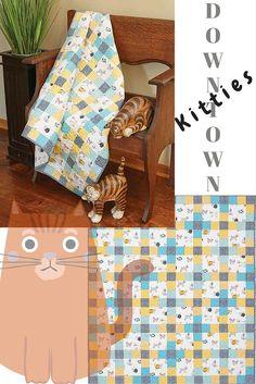 If you're a fan of baby quilt patterns, and you happen to be an animal lover, these whimsical kitties in Downtown Kitties will make you smile! This is an easy, crib-size, baby quilt, perfect for a baby boy or baby girl, so can be used by siblings, too!