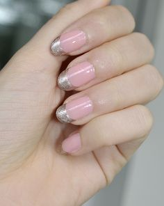 cute pink and silver glitter nails