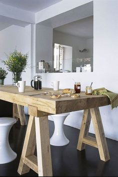 Our Dining Table (looks similar to this): We have upcycled our Marri Oak table, taken the gloss off and made the top raw timber look & created pine tresle table legs to be painted white. Oak Table, Dining Room Table, Kitchen Dining, Chunky Dining Table, White Wood Table, Pine Dining Table, Trestle Table, Rustic Table, Table Legs