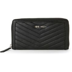 Nine West Black Adelina SLG Zip-Around Wallet (£11) ❤ liked on Polyvore featuring bags, wallets, black, leather zip around wallet, fake leather wallet, leather bags, nine west wallets and card slot wallet