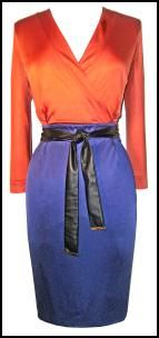 WOW and Orange and Blue Dress!!!  Burnt Out But Opulent - Gucci Colour Block Belted Jersey Wrap-Effect Dress