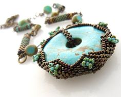 Exceptional Handmade Beaded Turquoise Pendant Necklace (OOAK) - adjustable