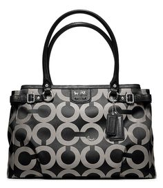 ec8dc22e061 COACH Madison Kara Carryall in Black   Silver Op Art Signature Fabric with  Leather Trim Coach