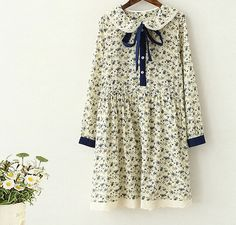 flowers print  literary lacing sash bow peter pan collar long sleeve  dress mori girl 2016 Summer new