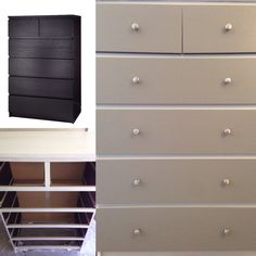 Finished our first ikea hack today! Started with the black malm dresser and painted it white and grey with varnhem drawer pulls from ikea