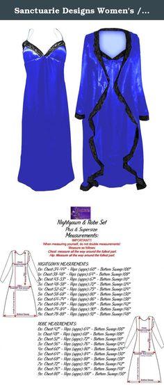 27b68e2a09d Sanctuarie Designs Women s  4x  Royal Blue Satin Nightgown Robe W Black  Lace Trim Plus