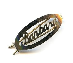 """Vtg 1960s """"Barbara"""" Name Cutout Gold Tone OvaHair Barrette Clip Pin 1-7/16"""" Long"""