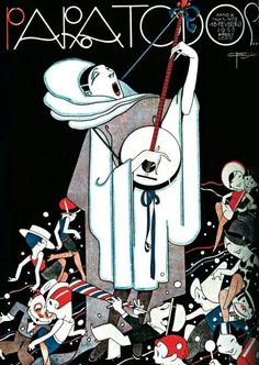 Couverture du magazine brésilien PARA TODOS Juin 1928 - José Carlos de Brito e Cunha, connu comme J Carlos (1884 - 1950) dessinateur, illustrateur et graphiste brésilien considéré comme l'un des plus grands représentants du style art déco en design graphique brésilien.