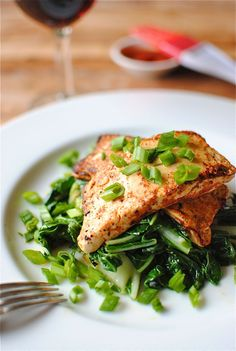Spicy Tofu Steaks Over Bok Choy