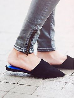 Dayna Point Flat | Suede pointed, closed toe slides.     *By Jeffrey Campbell + Free People