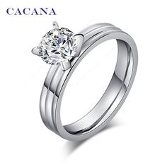 CACANA Stainless Steel Rings For Women Stainless Steel With CZ Diamond Fashion Jewelry Wholesale NO.R28
