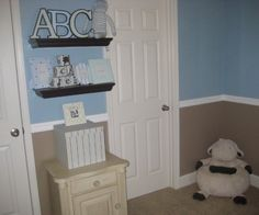 Cute Baby Boys Room | How cute are these wall shelves in this blue boy's nursery – they ...