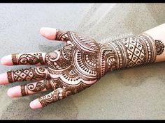 BEAUTIFUL KARVACHAUTH MEHNDI HENNA FULL RAJASTHANI STYLE TRADITIONAL DESIGN - YouTube Mehndi Design Images, Mehndi Designs For Hands, Bridal Mehndi Designs, Mehandi Designs, Mehandi Henna, Mehendi, Traditional Henna, Traditional Design, Rajasthani Mehndi