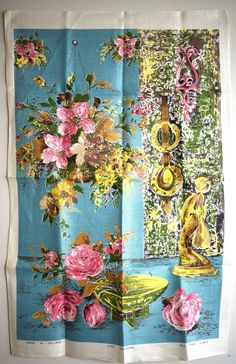 Hanging Floral Basket Tea Towel - Mid Century Flowers Patio - New! Wool Wall Hanging, Tapestry Wall Hanging, 1950s Design, Mid Century Decor, Tea Towels, Hibiscus, Vintage Items, Basket, Bright Colours
