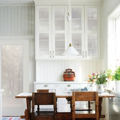 Glass-front cabinets may make some people feel self-conscious. Hide mismatched dinnerware and chipped mugs by applying this fuzzy-looking appliqué. | Shown: Sand Privacy Window Film by Brewster Home Fashions from @wayfair