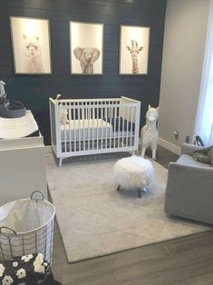 No words needed for this cozy nursery room. I absolutely love the animals one back wall. Baby Room Themes, Baby Boy Room Decor, Baby Room Design, Baby Bedroom, Baby Boy Rooms, Baby Boy Nurseries, Nursery Room, Baby Boy Bedroom Ideas, Baby Boy Nursey