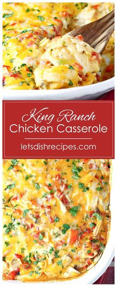 King Ranch Chicken Casserole Recipe — Tortillas, chicken, peppers, cheese and a creamy sauce are layered together in this crowd-pleasing Southwest casserole. Casserole Dishes, Casserole Recipes, Breakfast Casserole, Soup Recipes, King Ranch Chicken Casserole, Salsa Chicken Casserole, Chicken Cassarole, Mexican Food Recipes, Dinner Recipes