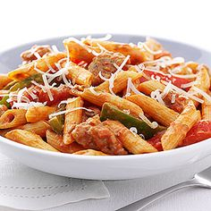 Zesty Penne, Sausage and Peppers. substitute whole wheat penne and less fa. - Now You're Cooking! Kraft Foods, Kraft Recipes, Seafood Recipes, Pasta Recipes, Cooking Recipes, Healthy Recipes, Sausage Recipes, Quick Recipes, Dinner Recipes
