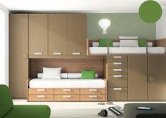 Habitación Infantil: DORMITORIO INFANTIL 366-2442012 | Dormitorio infantil de dos camas completamente equipado con sistema de armarios y camas tipo block.