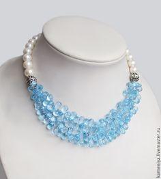 Купить Колье из голубого топаза SKY Blue Topaz и жемчуга с серебром - голубой, голубой цвет