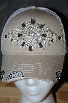 fc5e721bbce Items similar to Women s Trucker Hat. Baseball Hat. Women s Hat. Rhinestone  appliqué. Swarovski. hat.Khaki. Tan. snap back.rhinestone. bling. cap. on  Etsy
