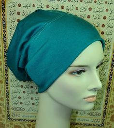 New Cotton Lycra Under Scarf Shawl Hijab Chemo Cap Hair Loss Deep Sea Green Blue #Handmade #BonnetCap