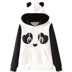Agatha Garcia Women Long Sleeves Lovable Panda Pattern Hoodie at... ($24) ❤ liked on Polyvore featuring tops, hoodies, jackets, panda hoodie, panda bear hoodie, print hoodie, white top and long sleeve hoodies