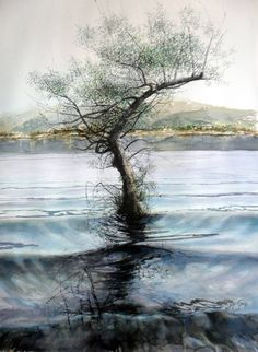 Buy Lonely Willow, a Watercolor on Paper by Rukiye Garip from Turkey. It…