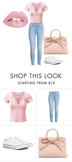 """Pink Party"" by dejarrashad ❤ liked on Polyvore featuring H&M, Converse and Mansur Gavriel"