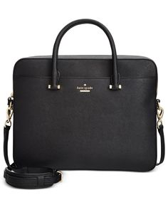 "Take your tech to stylish new heights with kate spade new york's ultra-sleek, ultra-chic Saffiano leather laptop bag. | Saffiano leather; lining: polyester | Imported | 13""W x 11""H x 2""D 