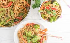 Peanut Sauce. Noodles. Veggies. Need we say more? Nothing is more comforting than a big bowl of noodles. This dish is a stand out dinner and can also be served cold for lunch! Mix up this recipe and making it your own by adding your protein of choice and swapping out your favorite vegetables.