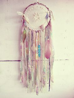 - Made to order! -   Gypsy wall hanging #dreamcatcher in pastel shades with plenty of beads, shells, feathers, lases and colorful stripes   Available in 8'' (as shown on pic...