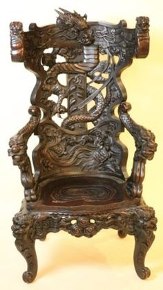 CHINESE ANTIQUE CARVED DRAGON CHAIR : Lot 100