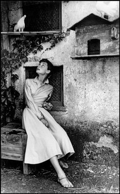 Audrey Hepburn in Italy, 1955, posing for a LIFE magazine  cover image.  Photo: Philippe Halsman. Appeared in the July 18, 1955 issue.