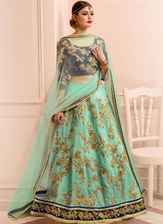 Navy Blue and Mint Embroidered Lehenga