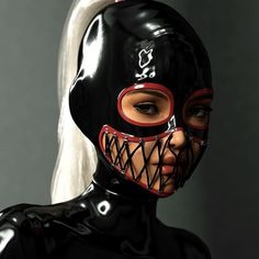 Latex Hood with Lacing Rubber Catsuit, Latex Catsuit, Submissive, Latex Costumes, Latex Hood, Sexy Latex, Latex Girls, Dominatrix, Gothic Fashion