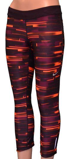 NIKE Women's Dri-Fit Printed Relay Running Capri Pants-Purple/orange-Medium: Clothing