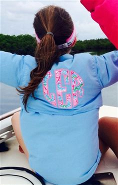 Monogrammed Fishing Shirt with Lilly Pulitzer Accents (W/S/Teal, pink thread, Lobstah Roll)