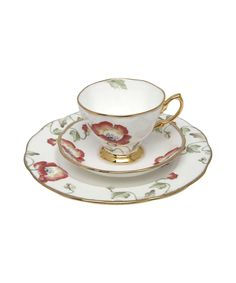 1970 Poppy Hostess Three Piece Tea Set, Royal Albert