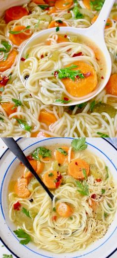 No chicken vegetable noodle soup with long angel hair noodles, carrots and celery. A healthy oil free recipe not to be missed No chicken vegetable noodle soup with long angel hair noodles, carrots and celery. A healthy oil free recipe not to be missed Chicken Vegetable Noodle Soup, Chicken And Vegetables, Chicken Noodles, Noodle Soups, Chicken Soup, Soup Recipes, Vegetarian Recipes, Cooking Recipes, Healthy Recipes