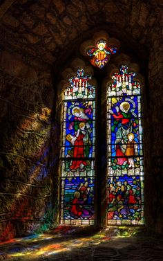 """ Stained Glass, St Michael's Mount, Cornwall by Derek Finch """